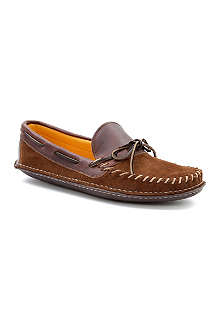 QUODDY Whip-stitch leather moccasin slippers