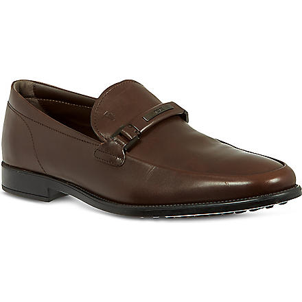 TODS Logo horsebit loafers (Brown