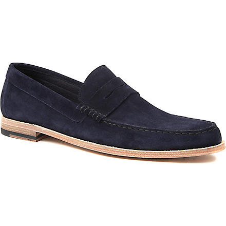 PAUL SMITH Max suede penny loafers (Navy