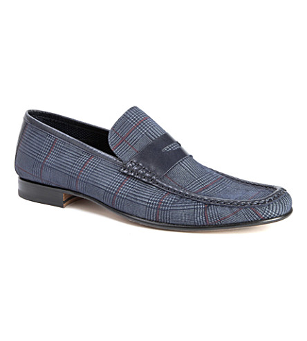 STEMAR Checked leather penny loafers (Blue