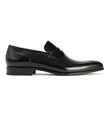 STEMAR Almond leather penny loafers (Black