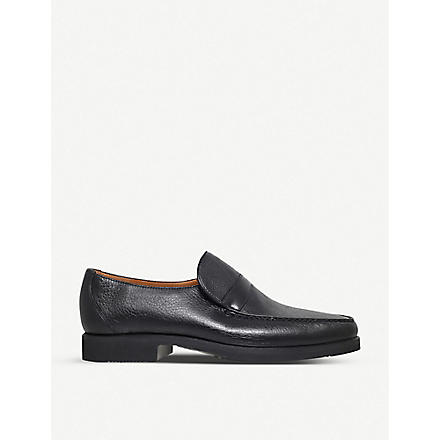 STEMAR Grained-leather loafers (Black