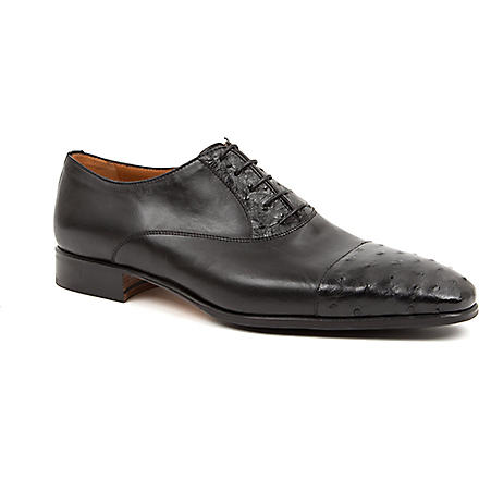 STEMAR Ostrich-print toecap Oxford shoes (Black