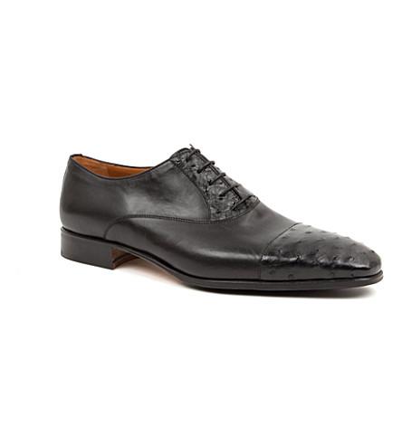 STEMAR Ostrich-print toecap Oxford shoes (Black