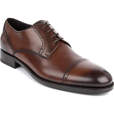 ERMENEGILDO ZEGNA Perforated-leather Derby shoes (Tan