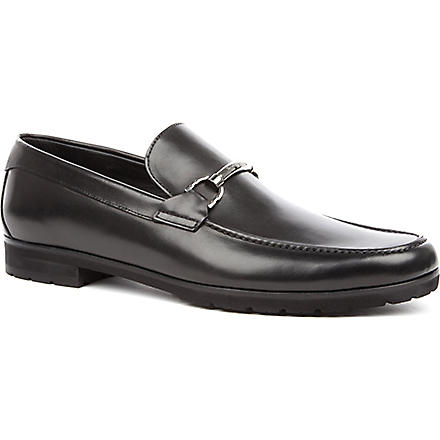 ERMENEGILDO ZEGNA Leather cleated-sole loafers (Black