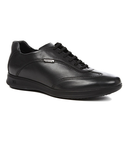 ERMENEGILDO ZEGNA Wedge sole leather trainers (Black