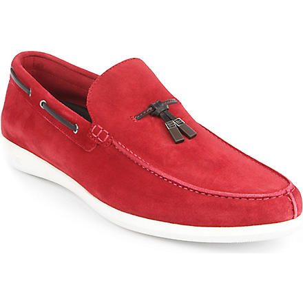 ERMENEGILDO ZEGNA Suede driver shoes (Red