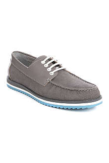 ANTHONY MILES Sutton suede and leather boat shoes