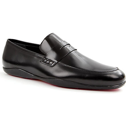 HARRYS OF LONDON Downing fuchsia-sole loafers (Black