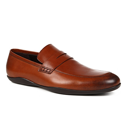 HARRYS OF LONDON Downing burnished-leather loafers (Tan