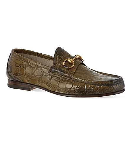 GUCCI Roos crocodile loafers (Green