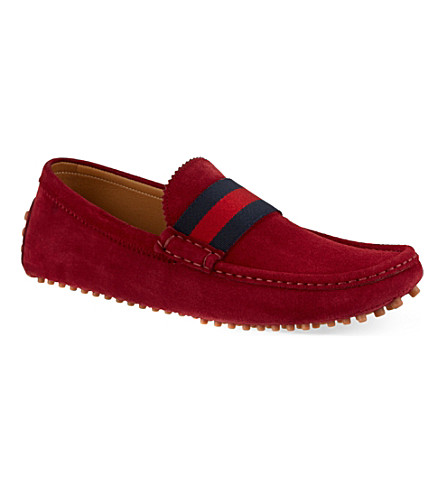 GUCCI Suede Auger webb driving shoes (Red