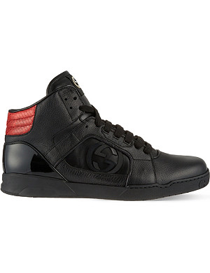 GUCCI Rebound leather hi top trainers