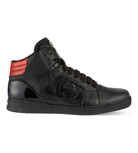 GUCCI Rebound leather hi top trainers (Black