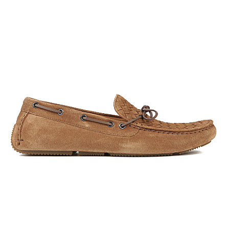 BOTTEGA VENETA Shadow Intrecciato suede moccasins (Brown