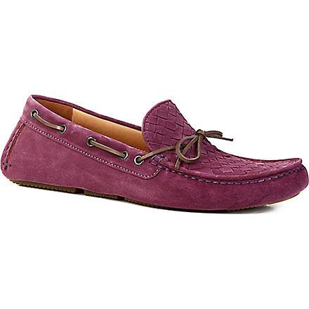 BOTTEGA VENETA Patera II suede moccasins (Purple