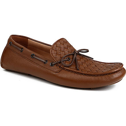 BOTTEGA VENETA Patera II deerskin leather moccasins (Tan