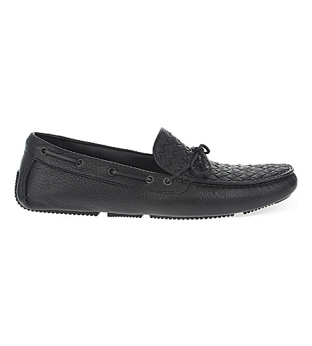 BOTTEGA VENETA Patera II washed-leather moccasins (Navy