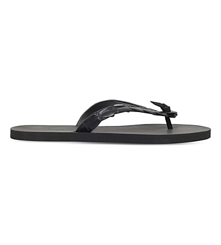 BOTTEGA VENETA Croc thonged sandals (Black