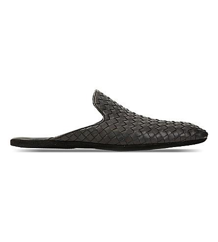 BOTTEGA VENETA Woven-leather slippers (Black