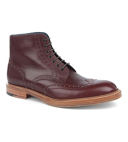 BARKER Butcher brogue boots (Wine
