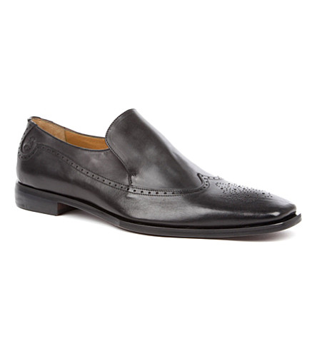 OLIVER SWEENEY Croce leather wingcap loafers (Black