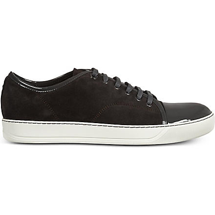LANVIN Low top suede basket trainers (Grey/dark