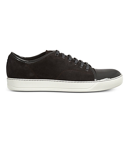 LANVIN Low top suede basket trainers (Grey/dark