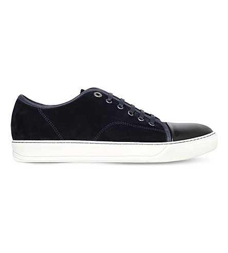 LANVIN Colour-block suede and leather trainers (Blue