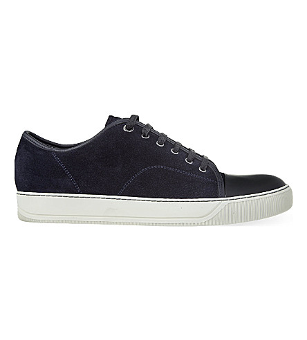 LANVIN Suede low-top sneakers (Mid+blue