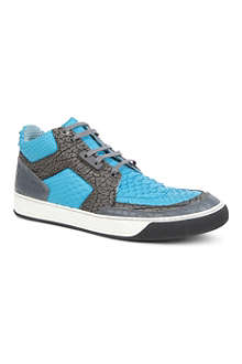 LANVIN Mixed-texture leather high-top trainers