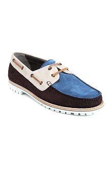 LANVIN Leather and suede panelled boat shoes