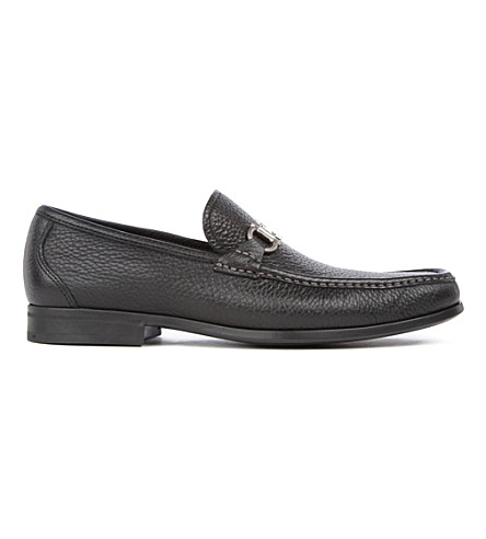 FERRAGAMO Magnifico grained-leather loafers (Black
