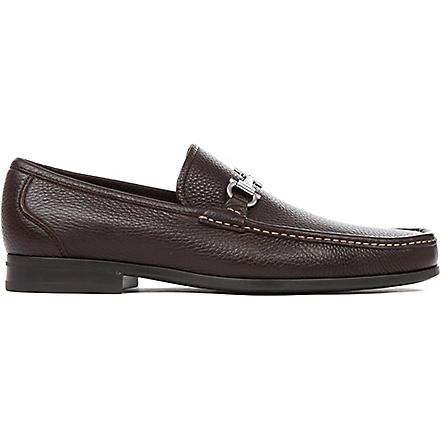 FERRAGAMO Magnifico grained-leather loafers (Brown