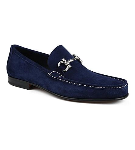 FERRAGAMO Girodano horsebit suede loafers (Navy