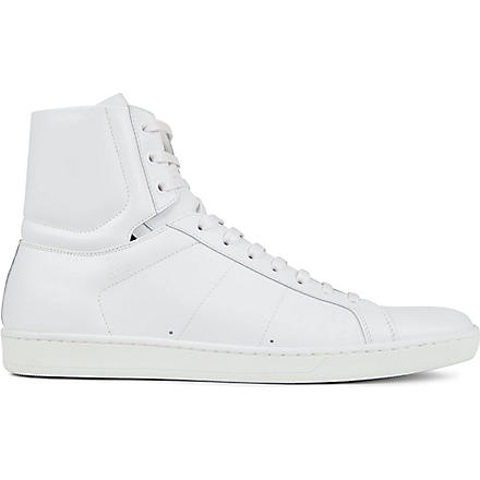 SAINT LAURENT Leather high-top trainers (White