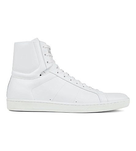 SAINT LAURENT Leather high-top sneakers (White