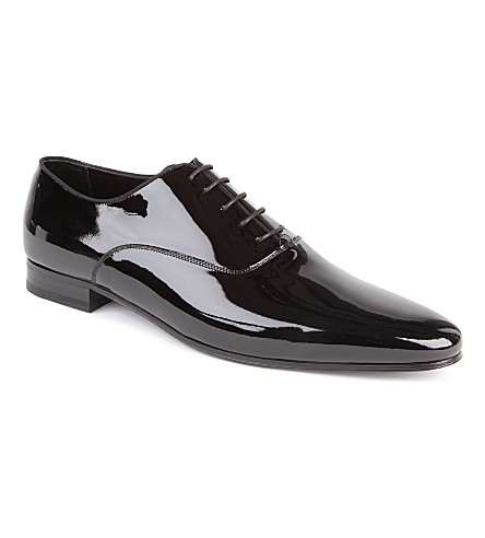 SAINT LAURENT Richelieu patent Oxford shoes (Black