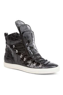 VIVIENNE WESTWOOD Croc-print leather high-top trainers