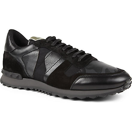 VALENTINO Full leather camo trainers (Black