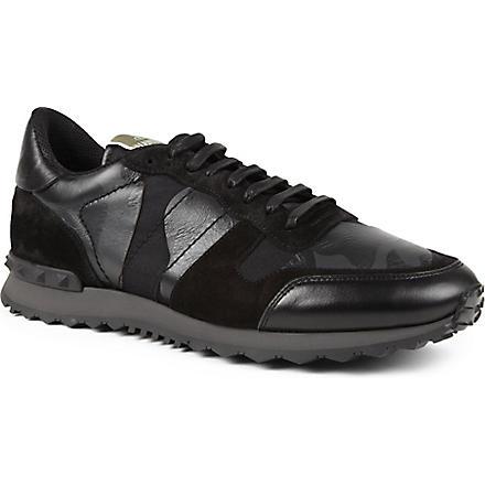 VALENTINO Full leather camo trainers (Black