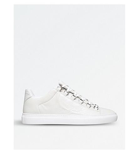 巴黎世家竞技场皮革运动鞋 (白色