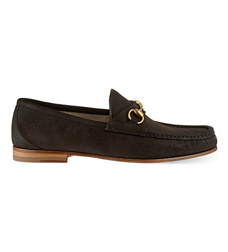 GUCCI Roos suede loafers (Dark+brown