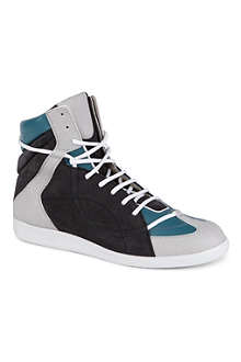 MAISON MARTIN MARGIELA Leather and suede-panelled high tops