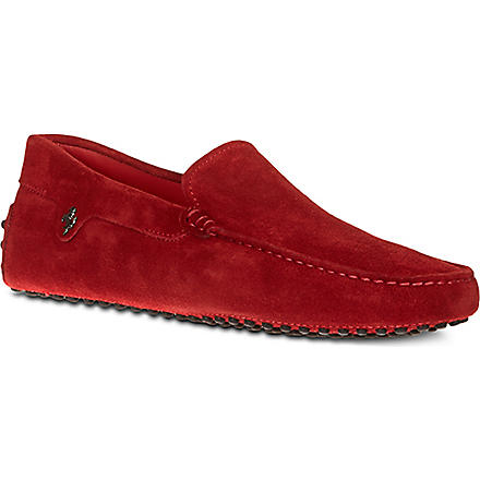 TODS Tod's Ferrari Gommino Driving Shoes in Suede (Red