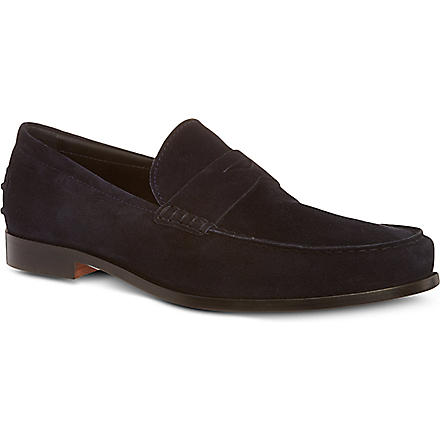 TODS Suede Penny Loafers (Navy