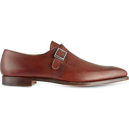CROCKETT & JONES Leather single-buckle monk shoes (Tan