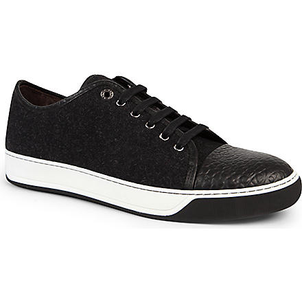 LANVIN Wool toe-cap sneaker (Grey/dark