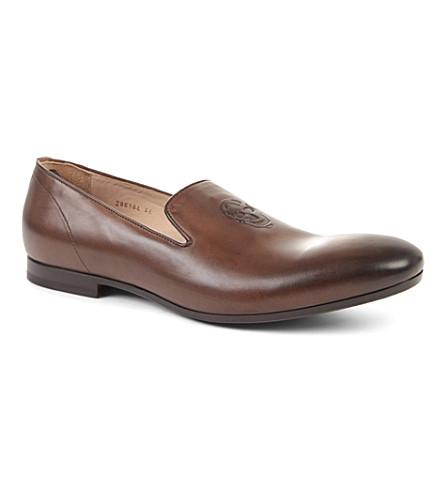 ALEXANDER MCQUEEN Skull leather slippers (Brown